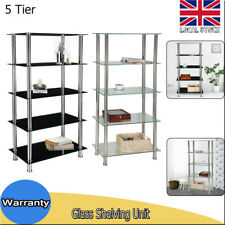 5 Tier Glass Shelf Unit Display Storage Stand Bookcase Shelving Living Room New