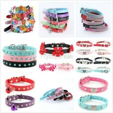 Small Pet Dog Adjustable PU Leather Collar Puppy Cat Crystal Buckle Neck Strap