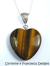 925 Sterling Silver 30mm GOLDEN TIGERS EYE Heart Gemstone Pendant Chain Necklace