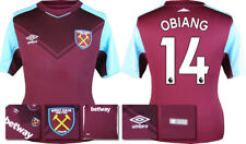 17 / 18 - ADIDAS ; WEST HAM HOME SHIRT SS / OBIANG 14 = KIDS