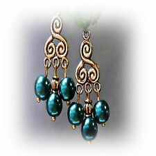Earrings Teal Green Pearl antique gold chandelier color choice clip on pierced