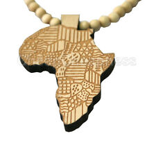 Good Quality Hip-Hop African Map Pendant Wood Bead Rosary Necklaces Faddish IG