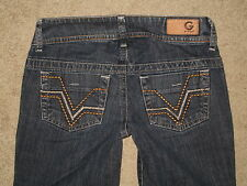 G By Guess Drew Flare Low Rise Stretch Med Blue Denim Jeans Womens Size 24