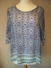 NEW M&S - size 8 12 Turquoise/ White/ Blue abstract ladies TOP/ Tunic- BNWoT