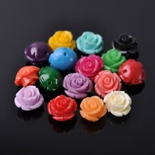 10pcs 12mm Resin Rose Flower Loose Craft Beads Jewelry DIY Findings 20 Colors