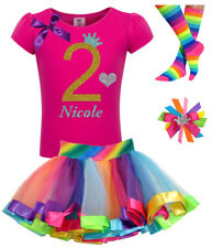 2nd Birthday Shirt Girl Pink Gold Glitter Rainbow Tutu Outfit Sock Hair Bow Name