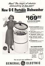1950 GE Portable Dishwasher: Magic of Electric Dishwasher Vintage Print Ad