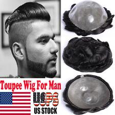 Thick Mono Skin Hairpieces Replacment Virgin Human Hair Toupee Wig For Man F501