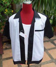Handmade 1950's Style Retro Mens Rockabilly Bowling Shirt  Black  & white Check