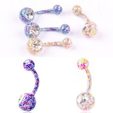 1PC Hot Crystal  Double Drill Stainless steel Belly Navel Ring  Fashion