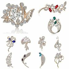 Butterfly Flower Pearl Crystal Brooch Pin Women Wedding Bouquet Bridal Jewellery