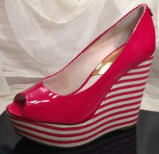 MICHAEL KORS COLLECTION Women's 6.5  Red Patent Leather Striped Wedge Platform