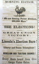 1864 Civil War headline display newspaper ABRAHAM LINCOLN RE-ELECTED PRESIDENT
