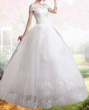 Bridal wedding gown lace flower princess tulle white dress charming sweet