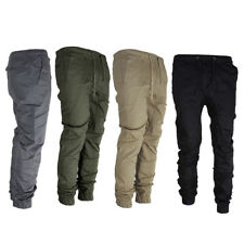 HK- Men's Twill Jogger Pants Hip Hop Harem Casual Trousers Slim Fit Elastic Chea