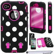 Combo Rugged Matte Hard Impact Bumper Case Cover Skin For Apple iPhone 4 4S+Film