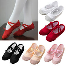 Children Kids Girls Solid Canvas Fitness Slippers Gym Soft Dancing Ballet Shoes