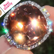 6.3CT Padparadscha Women 925 Silver Jewelry Wedding Engagement Ring Size 6-10