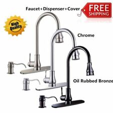"16""18'' Pull-Out Brushed Nickel Kitchen Sink Faucet Spray Swivel One Handle OY"
