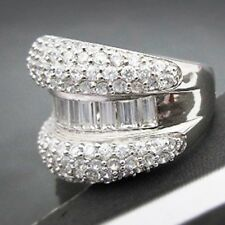 5.2ct White Topaz 925 Silver Women Jewelry Wedding Engagement Ring Size 6-10