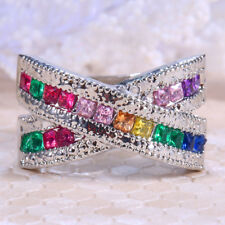 4.6ct Multicolor Topaz 925 Silver Jewelry Wedding Engagement Ring Size 6-10