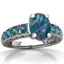 Fashion 4.6CT Blue Topaz 925 Silver Jewelry Wedding Engagement Ring Size 6-10