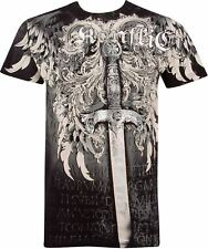 Sword Metallic Silver Embossed Short Sleeve Crew Neck Cotton Mens Fashion T-Shir