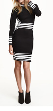H&M Trend  Conscious Fine Knit Fitted Boat Neck Black White Striped Dress sz L