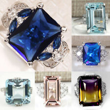 Women Princess Cut Sapphire Gemstone 925 Silver Wedding Bridal Ring Size 6-10