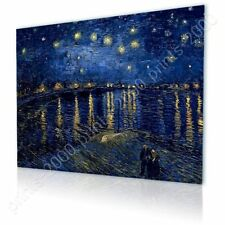 READY TO HANG CANVAS Starry Night Over The Rhone Vincent Van Gogh Framed Print