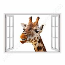 READY TO HANG CANVAS Giraffe Fake 3D Window Framed Paints Oil Painting Print