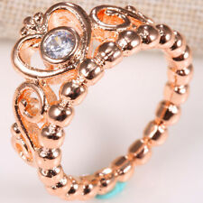 925 Silver Women Fashion Crown  Rose Gold Filled White Topaz Wedding Ring Sz6-10