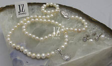 Freshwater Bridal Pearl & Sterling Silver Crystal Pendant Necklace & Earrings.