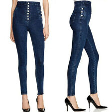 Stretch Denim Blue Skinny Fit Jeans Jegging Womens Ladies High Waisted