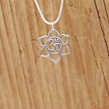 Sterling Silver Lotus Flower Ohm Om Charm Pendant Yoga Necklace