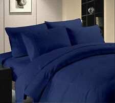 NAVY BLUE SOLID 1000 TC EGYPTIAN COTTON BED DUVET SET/FITTED SHEET/SHEET SET