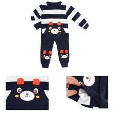 Kids Toddler Baby Boys Girls Clothes Set Bear Striped T-shirt Tops+Pants Outfits