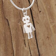 Sterling Silver Robot Love Heart Charm Necklace 925 Space Science Fiction