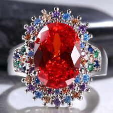 Huge Women 925 Silver 9ct Ruby&Multicolor Topaz Gemstone Wedding Ring Size 6-10