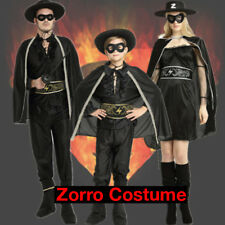 Adult Mens Ladies Kids Family Zorro Costume Bandit Hero Outfit Mens Fancy Dress