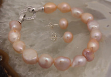 Freshwater Peach/Pink Pearl Bracelet with Sterling Silver Crystal Heart Clasp.