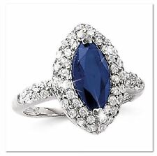 925 Sterling Silver Genuine Sapphire & Cubic Zirconia Cocktail Ring