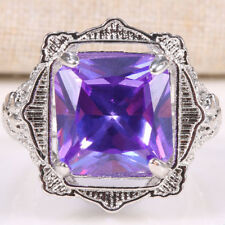 Nobby Jewelry 925 Silver Radiant Cut  4.8CT Amethyst Wedding Ring Size 6-10
