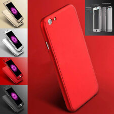 360 Full body Ultra Slim Hard Case Cover For iPhone 7 6s 6 /Plus +Tempered Glass