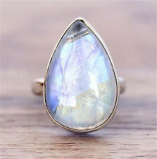 925 Silver Moonstone Women Jewelry Engagement Anniversary Gift Ring Size6-10