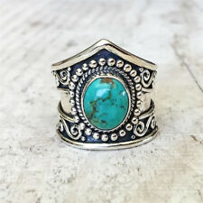 Women 925 Silver Turquoise & Moonstone Wedding Engagement Ring Gift  Sz6-10