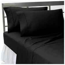 100% Egyptian Cotton 1000 TC 4 PC Sheet Set All Size Black Solid/Stripe'