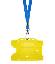 Light Blue ID Neck Strap Lanyard Metal Clip & Yellow Card Badge Tag Pass Holder