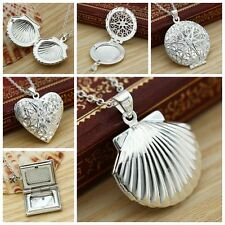 925 Sterling Silver Photo Locket Heart Hollow Pendant Necklace Openable Gifts