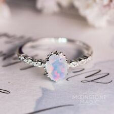 Trendy Women Jewelry White Fire Opal Wedding Engagement 925 Silver Ring Sz6-10